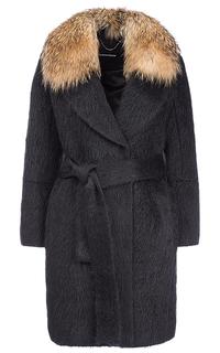 Полушерстяное пальто с отделкой мехом енота La Reine Blanche