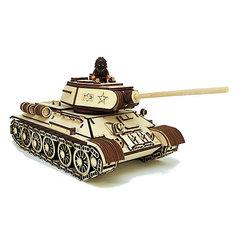 """Деревянный  3D конструктор подвижный """"Танк Т-34-85"""", Lemmo"""