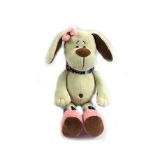"""Мягкая игрушка TEDDY """"Собака с розовым бантом"""", 17 см"""