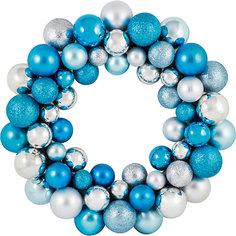 Новогодний венок из шариков Magic Land, 33 см (голубой) Волшебная Страна