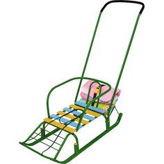 """Санки с ручкой и багажником Nika-Kids """"Тимка 7"""" (зеленые)"""