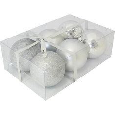 Набор елочных шаров Magic Land 6 шт, 8 см (серебро) Волшебная Страна
