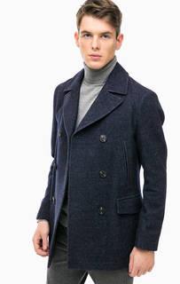 Синее двубортное пальто с карманами Marc Opolo