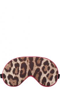 Шелковая маска для сна с леопардовым принтом Dolce & Gabbana
