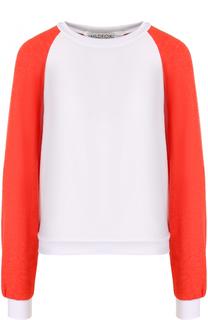 Пуловер с круглым вырезом и контрастными рукавами Wildfox