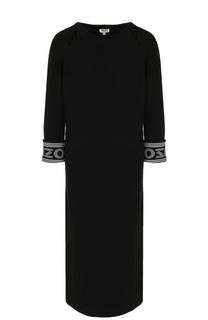 Платье-миди прямого кроя из смеси хлопка и шерсти Kenzo
