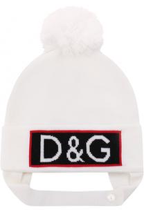 Шапка из шерсти с логотипом бренда и помпоном Dolce & Gabbana
