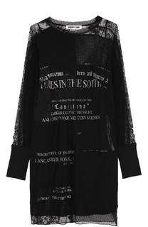 Кружевное мини-платье с длинным рукавом MCQ