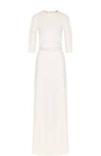 Приталенное платье-макси с укороченным рукавом и разрезом на спинке Lanvin