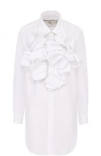 Удлиненная хлопковая блуза с оборками Comme des Garcons