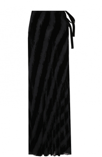 Бархатная юбка-макси с прозрачными вставками Ann Demeulemeester