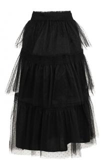 Многоярусная кружевная юбка-миди REDVALENTINO