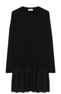Шерстяное мини-платье с длинным рукавом и круглым вырезом REDVALENTINO