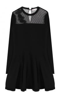 Вязаное мини-платье с длинным рукавом и кружевной вставкой REDVALENTINO