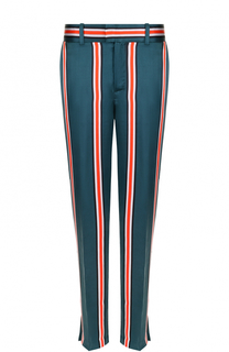 Шелковые брюки прямого кроя в полоску Equipment