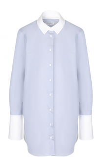 Хлопковая блуза с контрастными манжетами и воротником Equipment