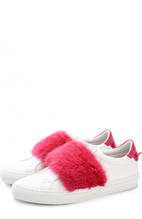 Кожаные кеды с отделкой из меха норки Givenchy