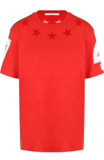 Хлопковая футболка прямого кроя с круглым вырезом Givenchy
