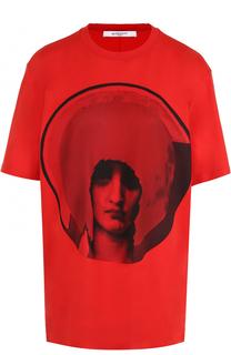 Хлопковая футболка прямого кроя с принтом Givenchy