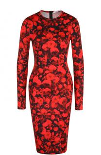 Платье-футляр с длинным рукавом и цветочным принтом Givenchy