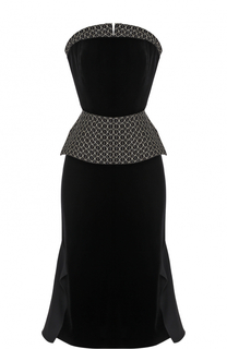 Приталенное платье-бюстье с декорированной баской Roland Mouret