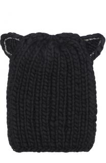 Шерстяная шапка фактурной вязки с декоративной отделкой Eugenia Kim