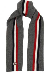 Шерстяной шарф с контрастной отделкой и логотипом бренда Moncler Enfant