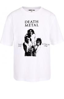 Хлопковая футболка прямого кроя с принтом MCQ