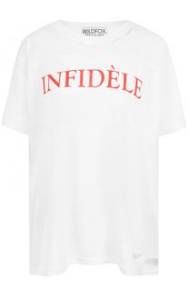 Хлопковая футболка свободного кроя с надписью Wildfox