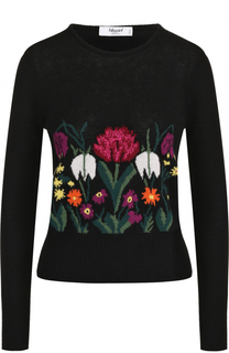 Шерстяной пуловер с цветочным принтом Blugirl