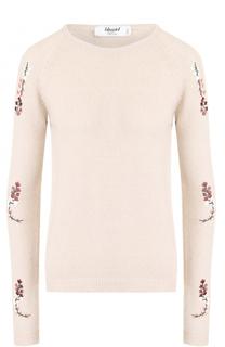 Шерстяной пуловер с цветочной вышивкой Blugirl