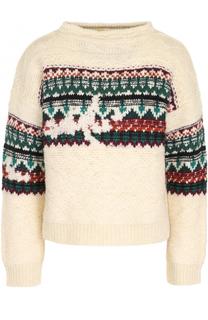 Шерстяной пуловер свободного кроя с принтом Isabel Marant Etoile