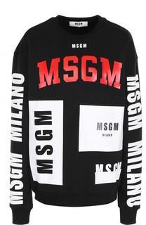 Хлопковый свитшот прямого кроя с надписями MSGM