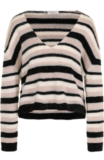 Вязаный пуловер в полоску с V-образным вырезом Lanvin
