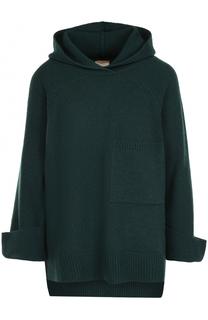 Шерстяной пуловер свободного кроя с капюшоном Nude