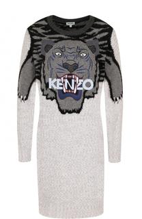 Шерстяное мини-платье с принтом и вышивкой Kenzo