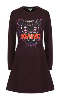Приталенное хлопковое платье-толстовка Kenzo