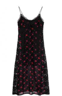 Шелковое платье-комбинация с цветочным принтом MCQ