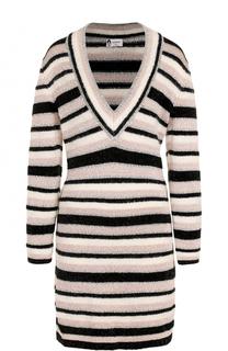 Мини-платье в полоску с V-образным вырезом Lanvin