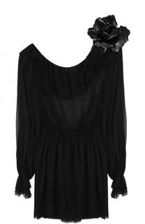 Шелковое полупрозрачное мини-платье Saint Laurent
