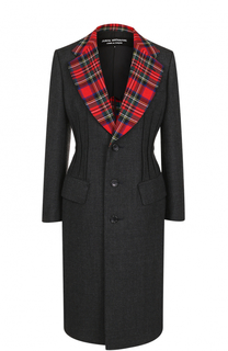 Приталенное шерстяное пальто с контрастными лацканами Junya Watanabe