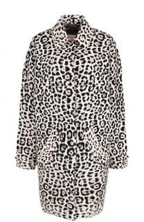 Шерстяное пальто свободного кроя с леопардовым принтом MICHAEL Michael Kors