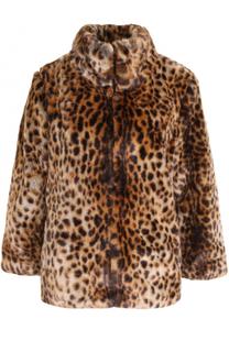 Укороченная шуба с леопардовым принтом из эко-меха MICHAEL Michael Kors