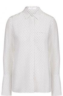 Шелковая блуза прямого кроя с горох BOSS