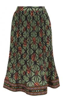 Плиссированная юбка-миди с принтом и широким поясом Stella Jean