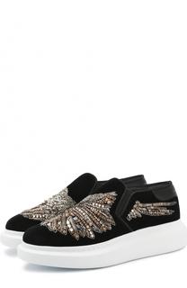 Бархатные слипоны с вышивкой бисером и кристаллами Alexander McQueen