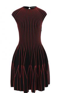 Шерстяное мини-платье с контрастной отделкой Alexander McQueen