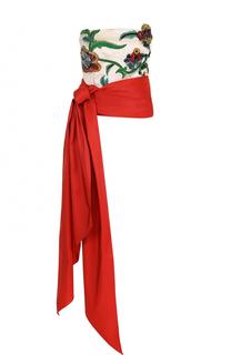 Шелковый топ-бюстье с вышивкой и бантом Oscar de la Renta