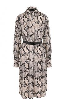 Платье-рубашка со змеиным принтом и поясом By Malene Birger