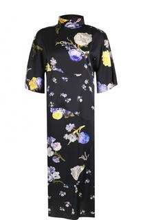 Платье-миди прямого кроя с принтом и воротником-стойкой Acne Studios